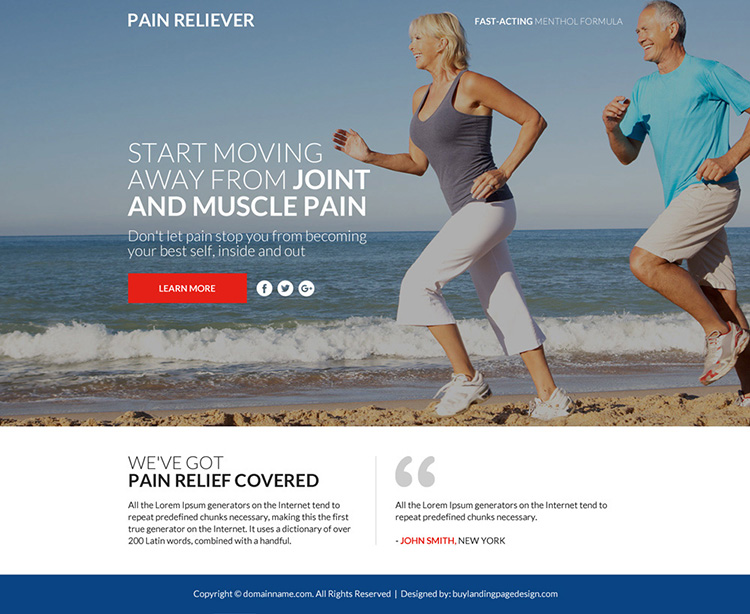 pain relief product lead funnel landing page design