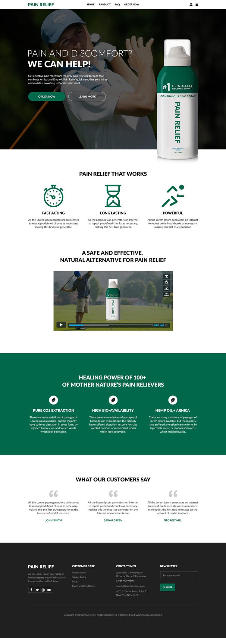 pain relief spray lead generating responsive website design