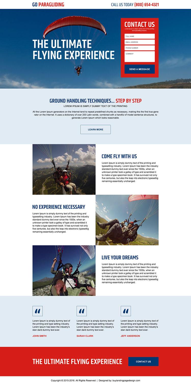 paragliding lead gen responsive landing page design