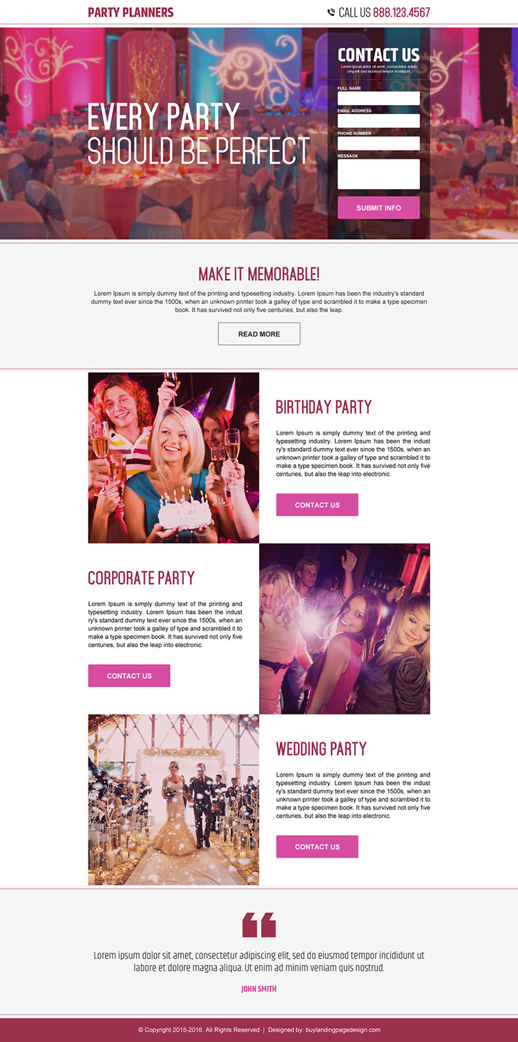 party planners lead capture landing page design
