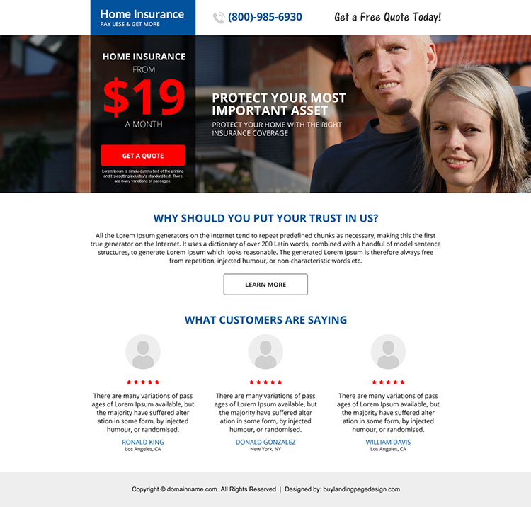responsive home insurance minimal landing page design