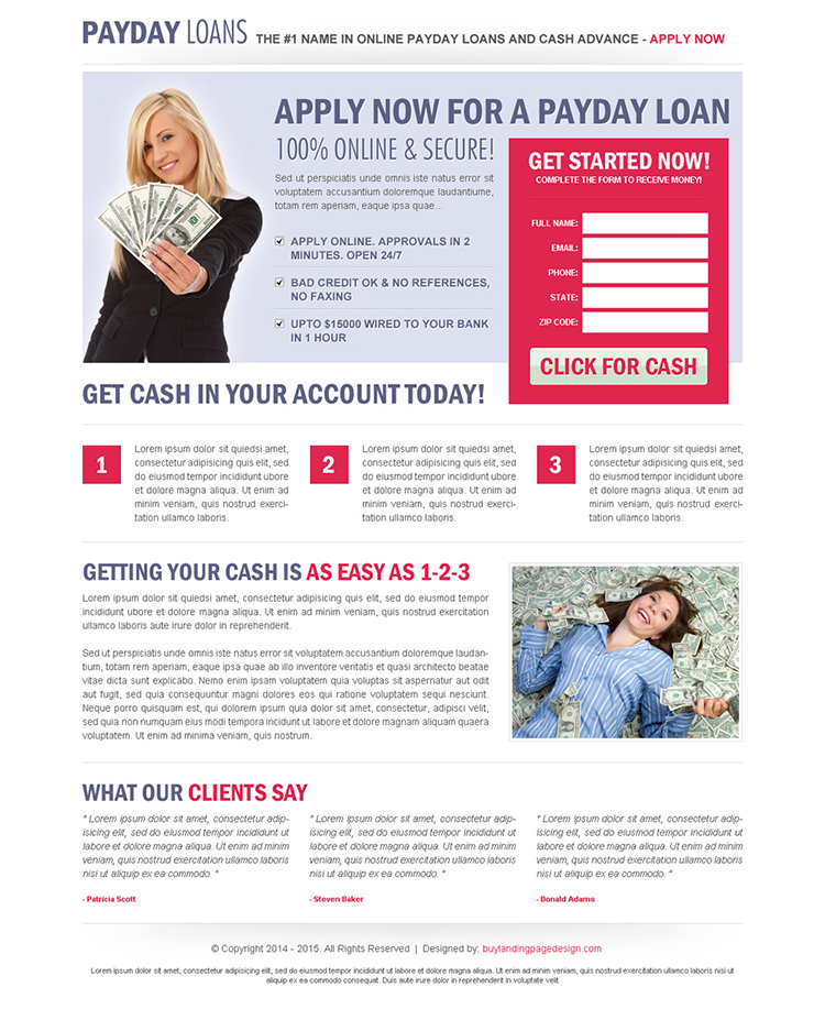 clean and user friendly payday cash advance landing page design