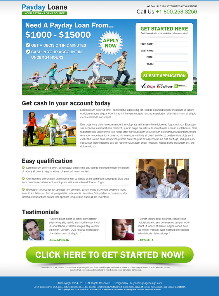 payday cash loan lead capture landing page design templates