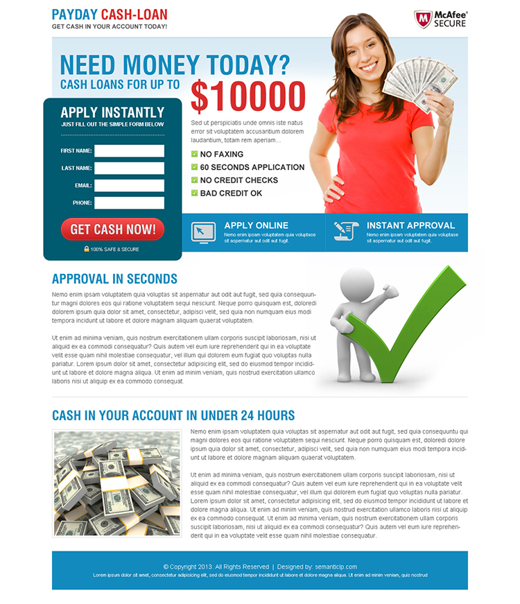 payday cash loan landing page design 4 payday loan landing page design preview. Black Bedroom Furniture Sets. Home Design Ideas