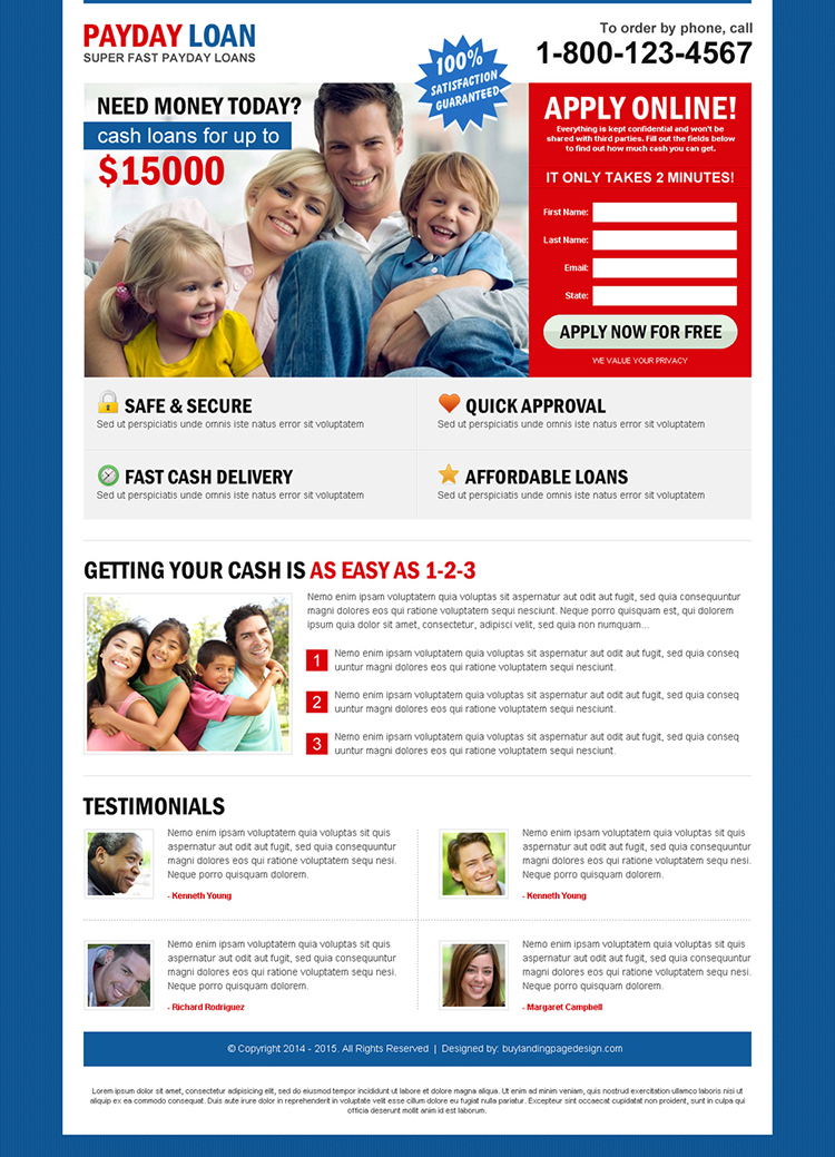 super fast payday loan creative lead capture squeeze page design