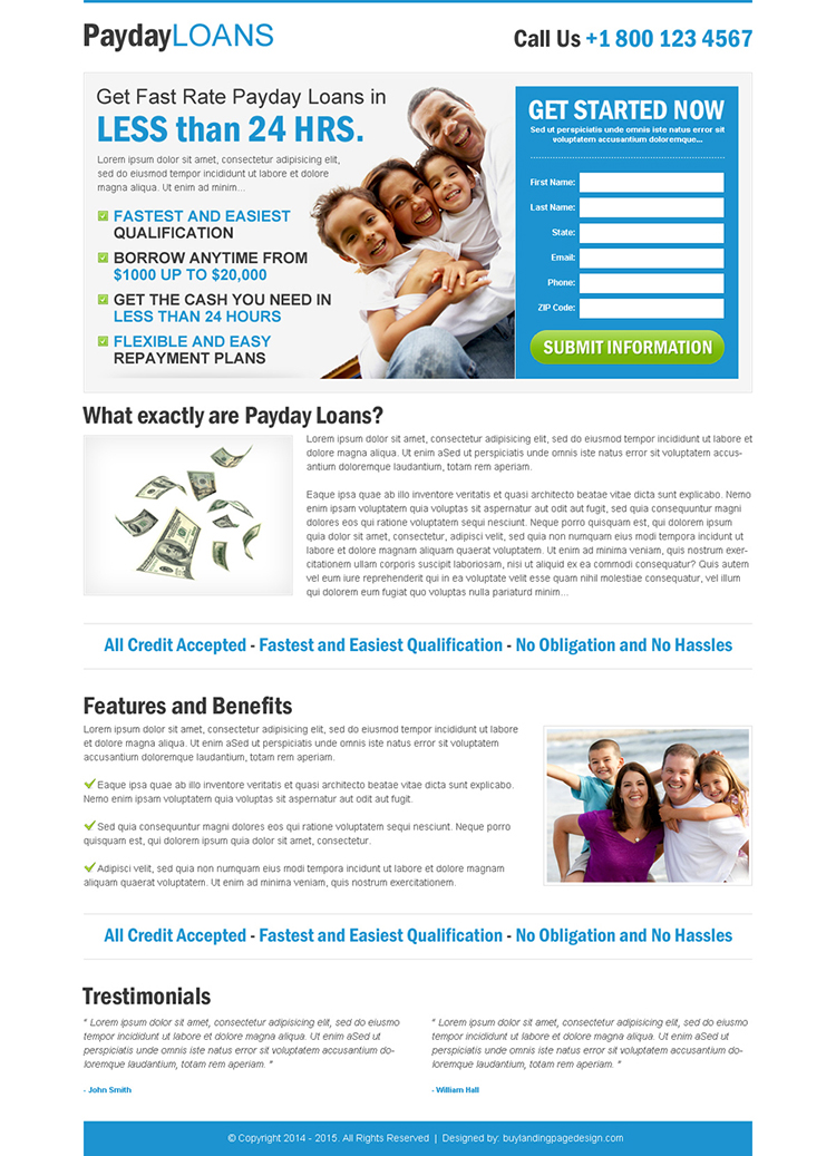 payday loan clean blue and white lead capture squeeze page