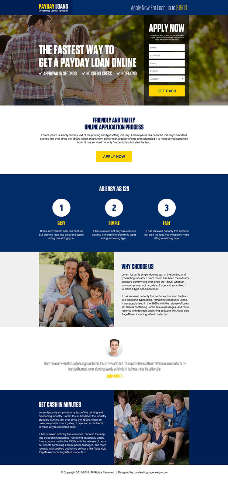 responsive online payday loan landing page design