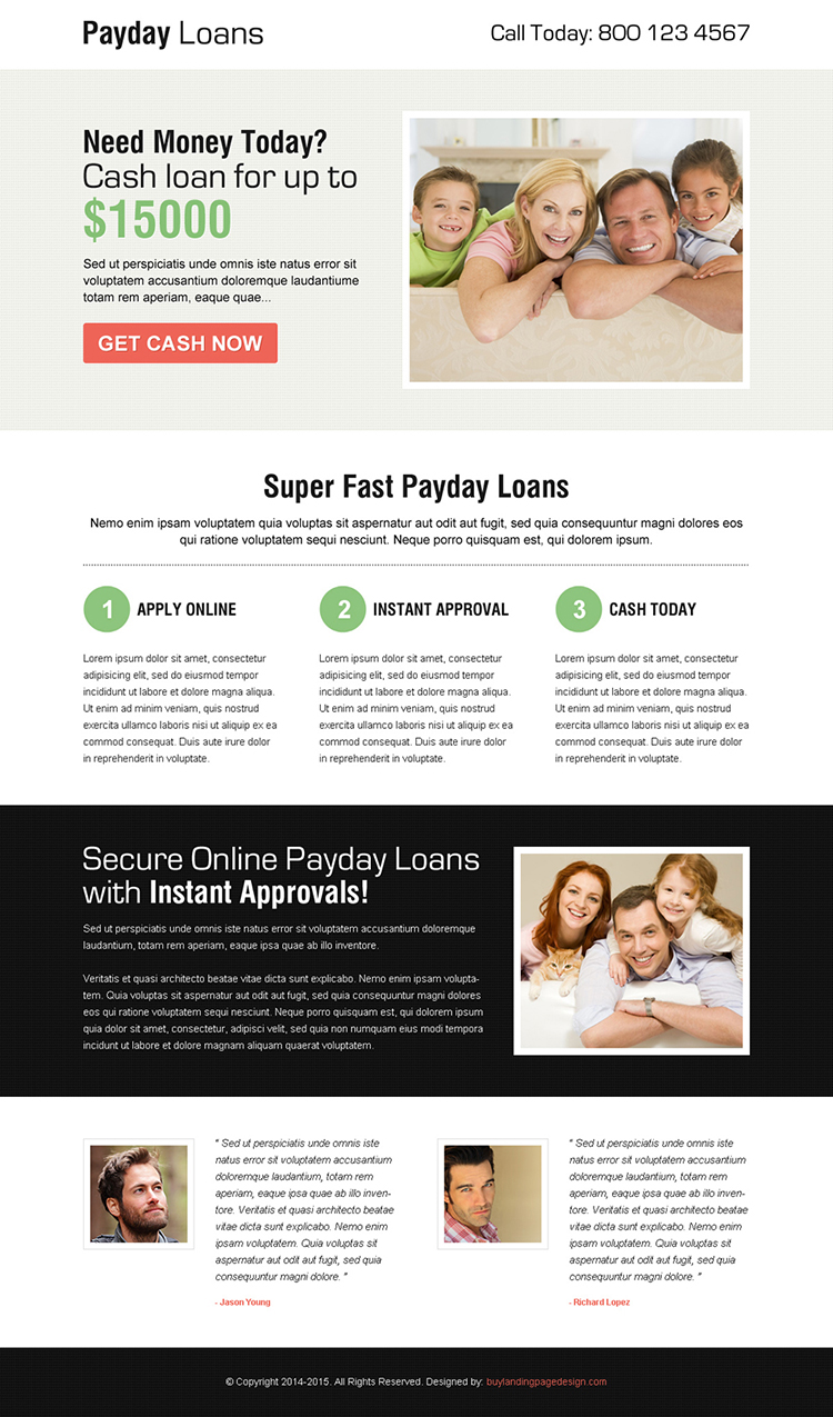 clean payday cash loan call to action squeeze page design