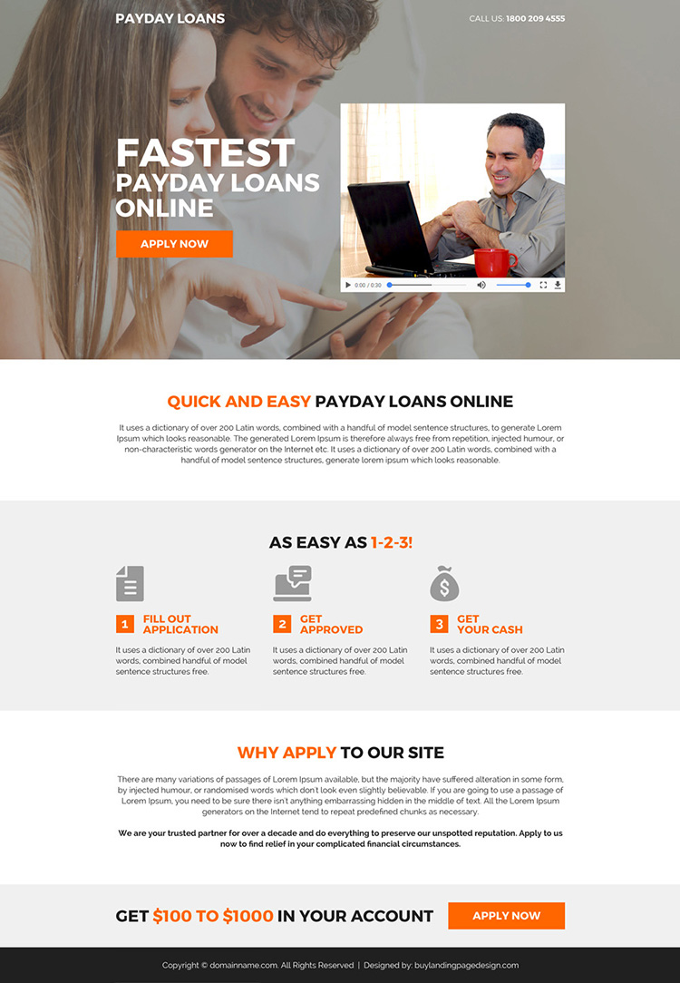 payday loan mini video landing page design