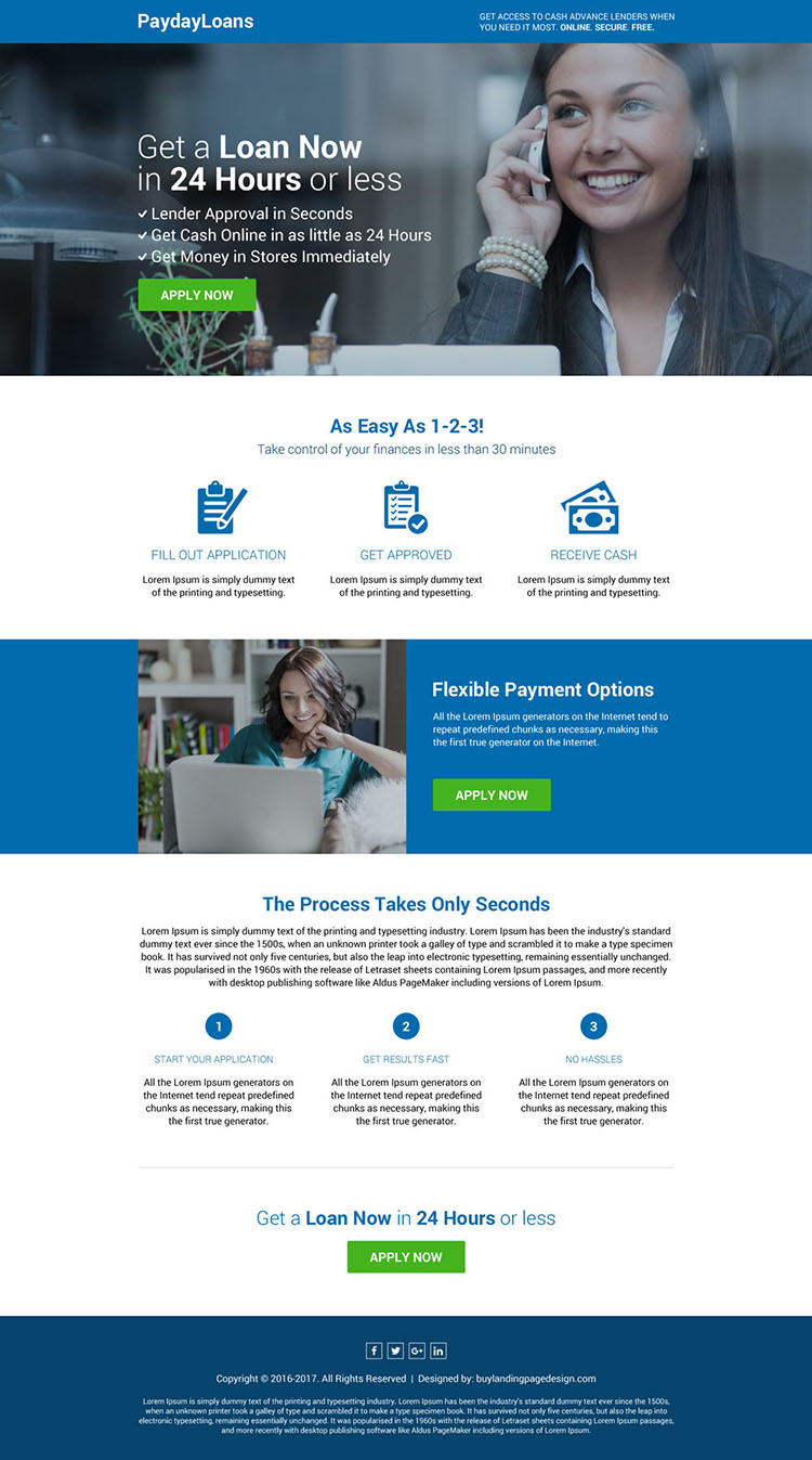 responsive payday loan professional landing page design