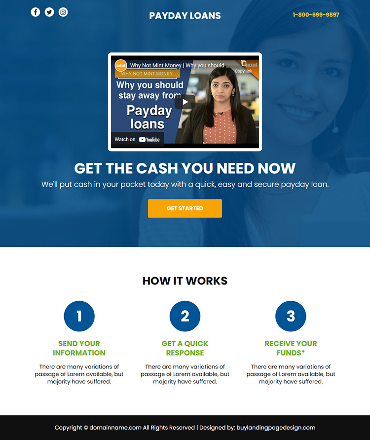 payday loan video responsive funnel design