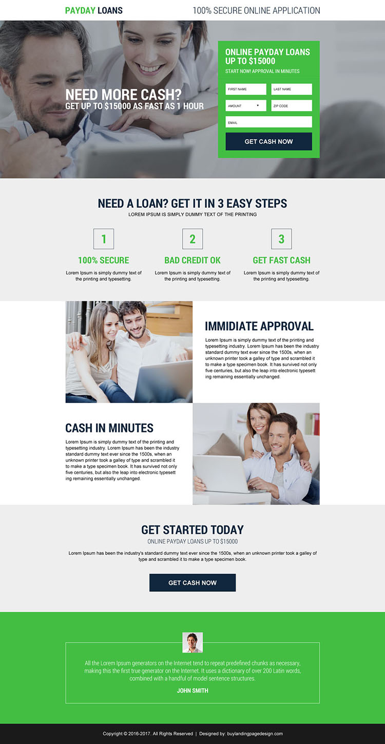 responsive payday loan online lead capturing landing page