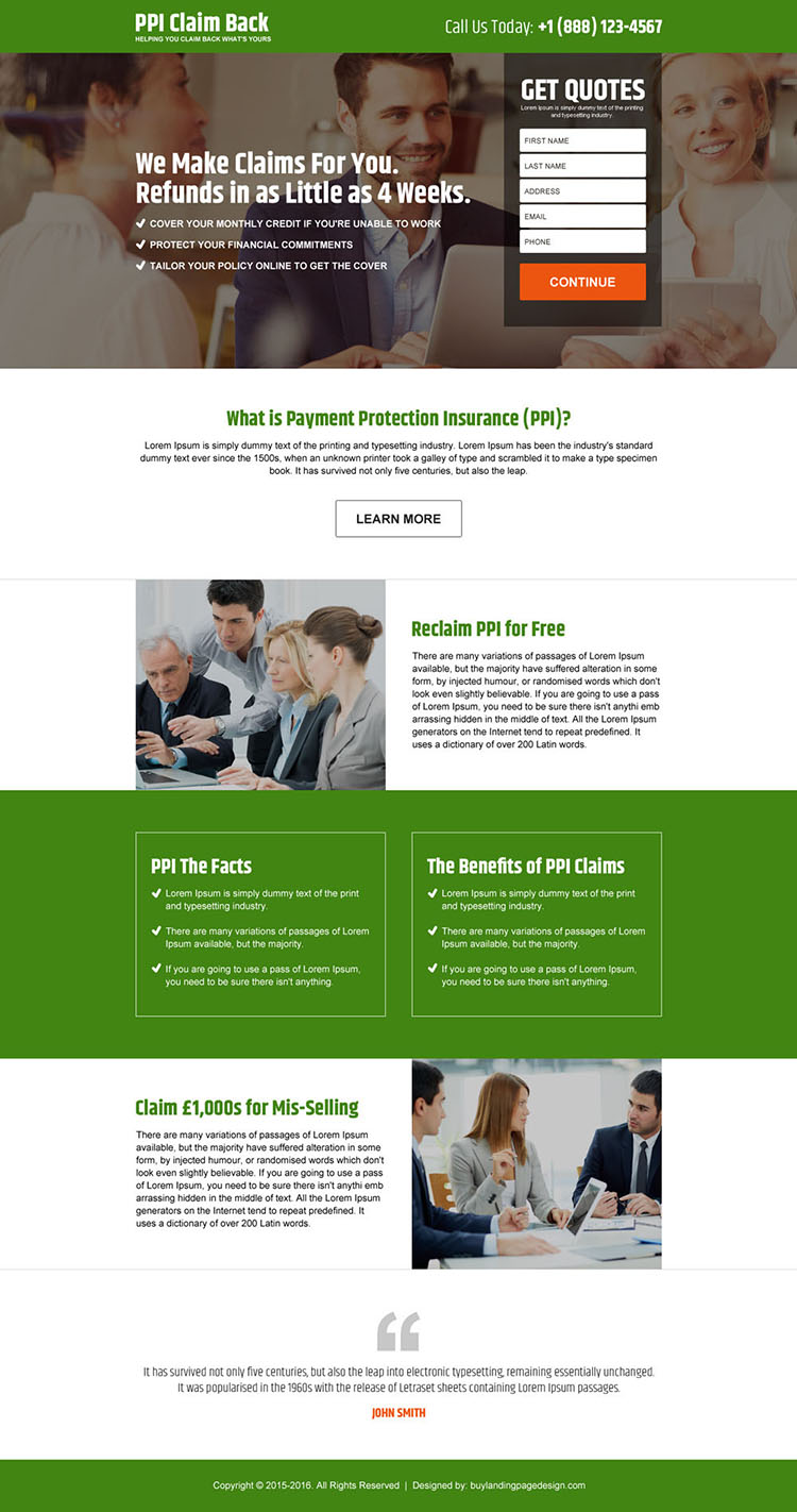 payment protection insurance claim back free quote landing page design