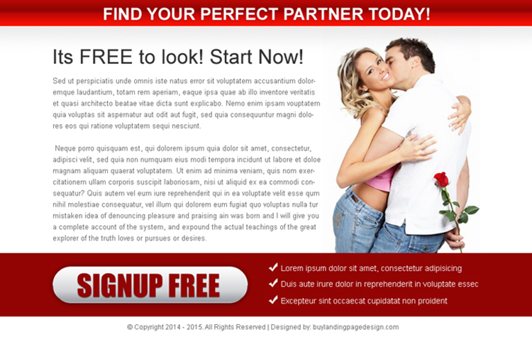 find your perfect partner call to action ppv landing page design template