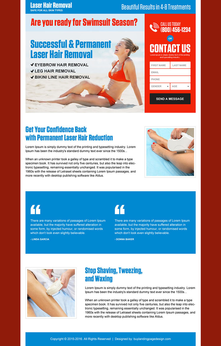 permanent laser hair removal responsive landing page