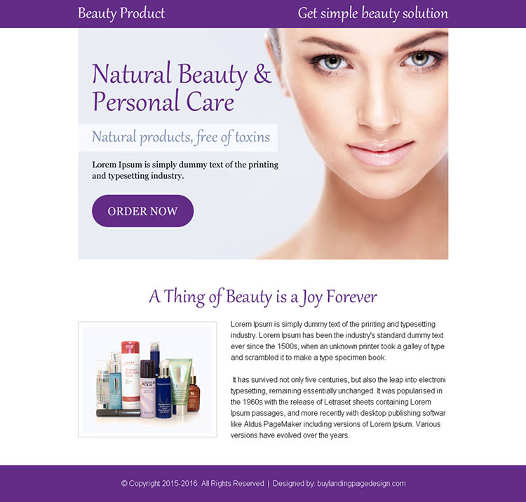 personal beauty care appealing ppv landing page design