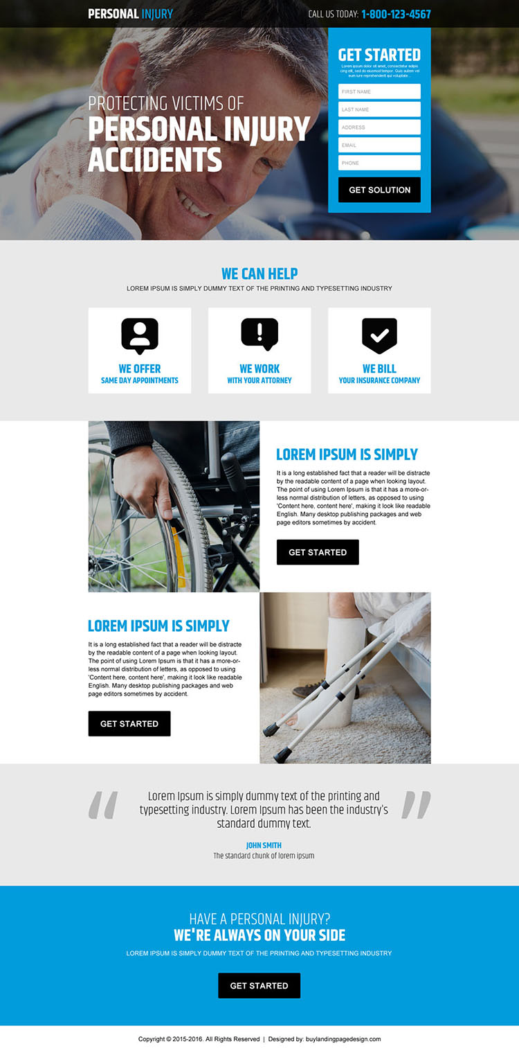 personal injury accidents claim lead generating responsive landing page design