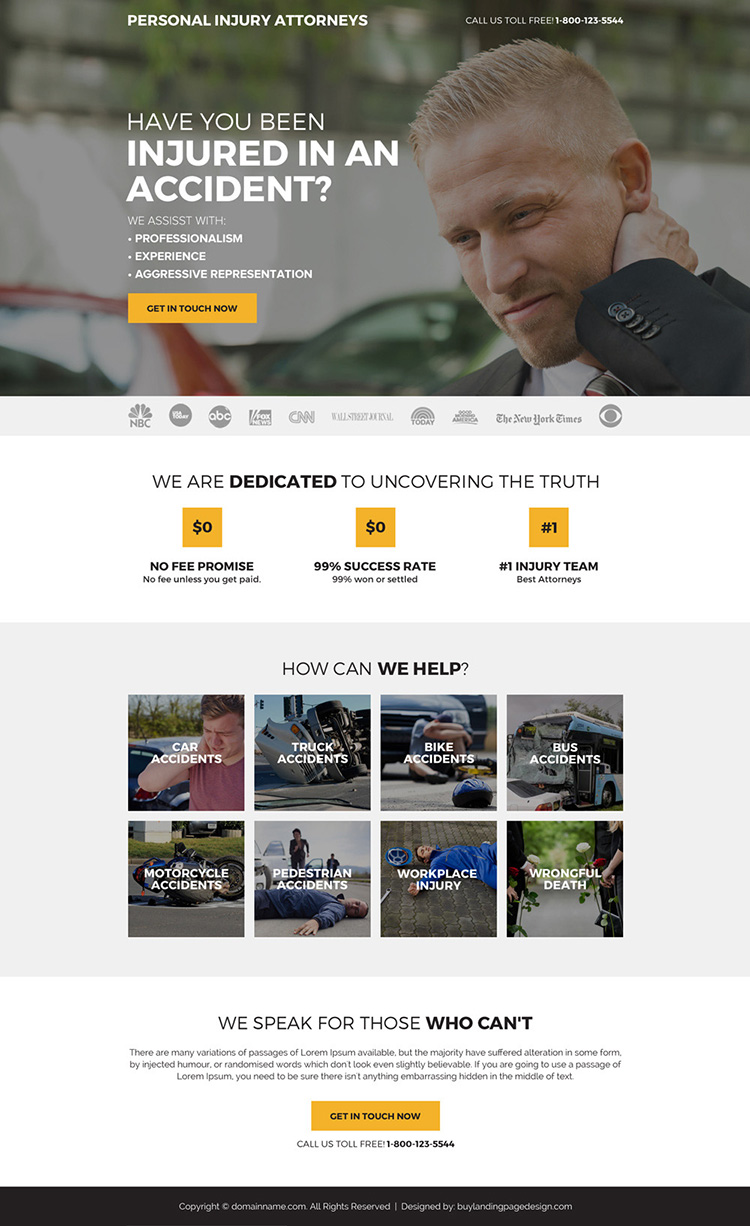 personal injury attorneys mini landing page design