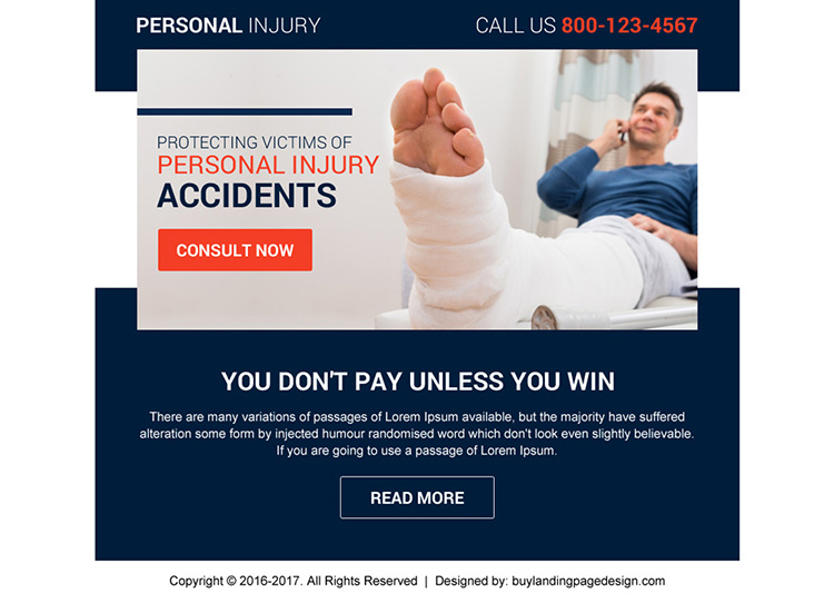 professional personal injury ppv landing page design