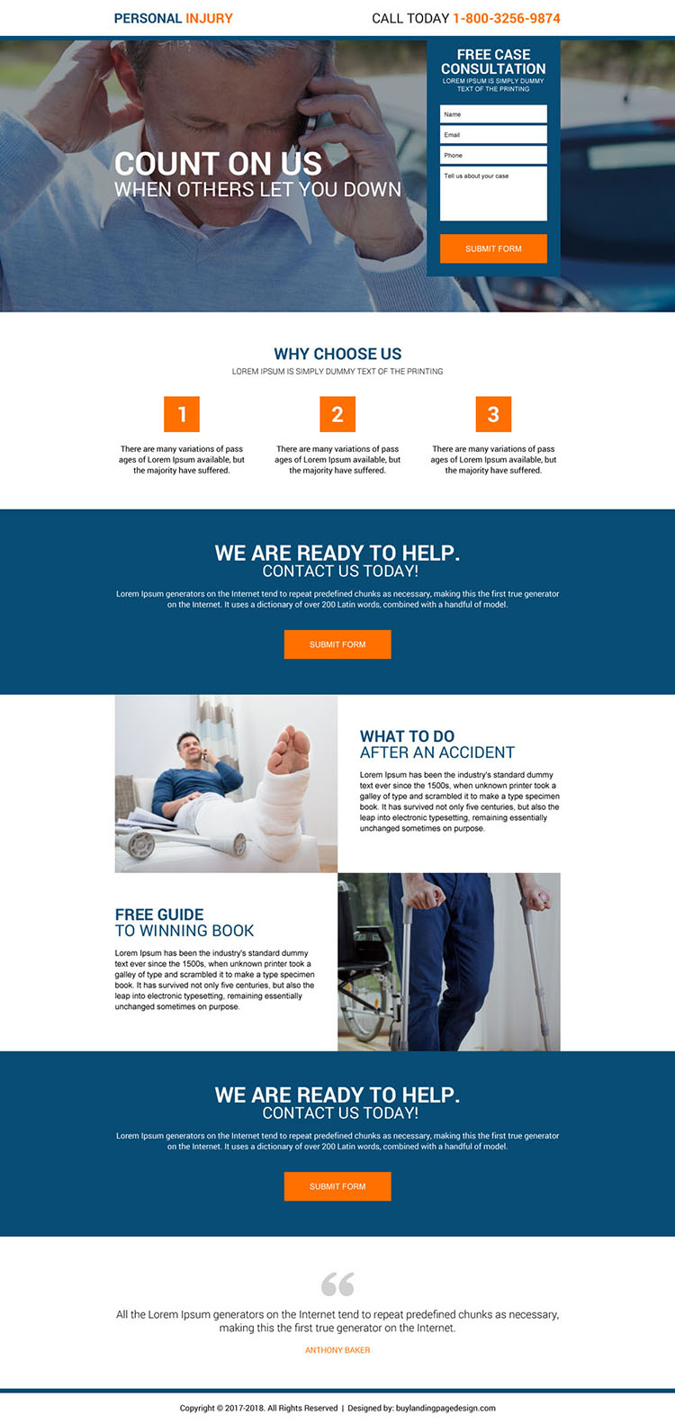 personal injury free case consultation landing page
