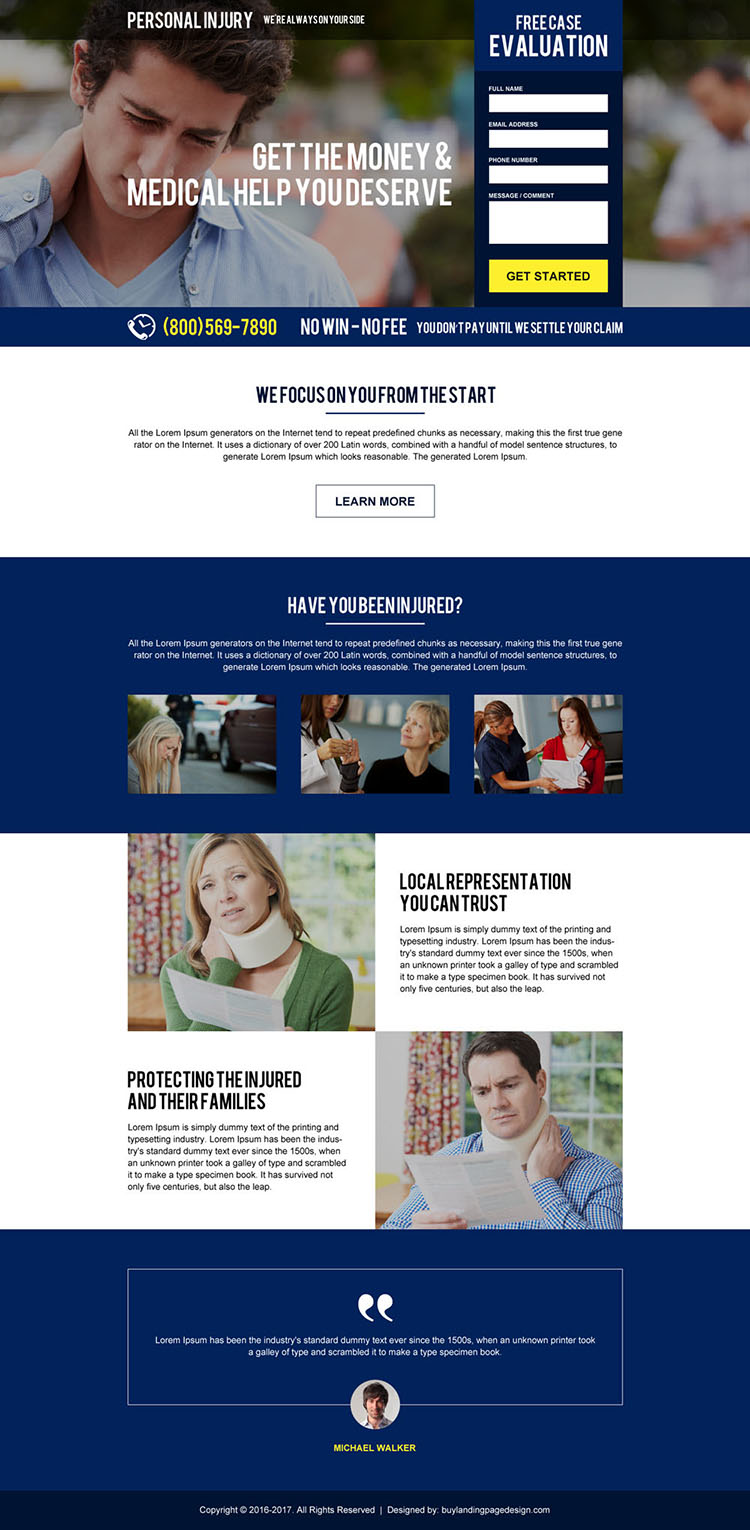 personal injury case evaluation responsive landing page design