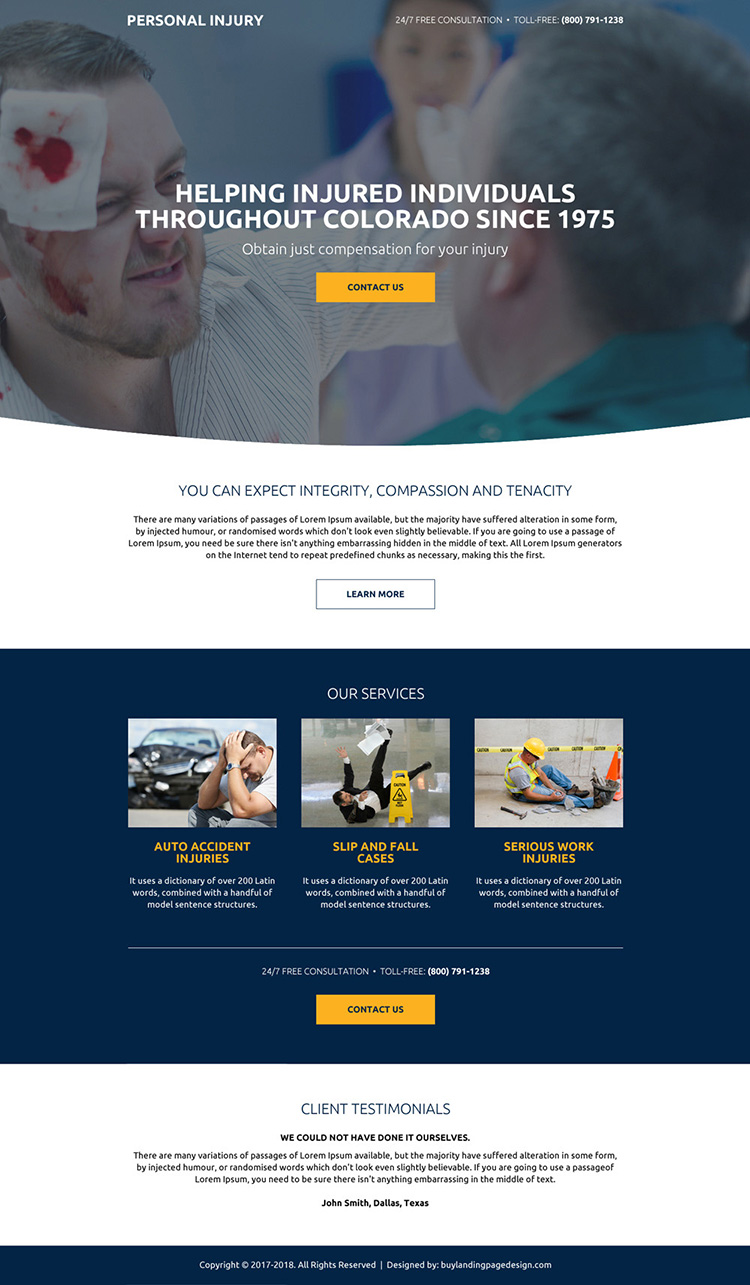 personal injury free consultation mini landing page