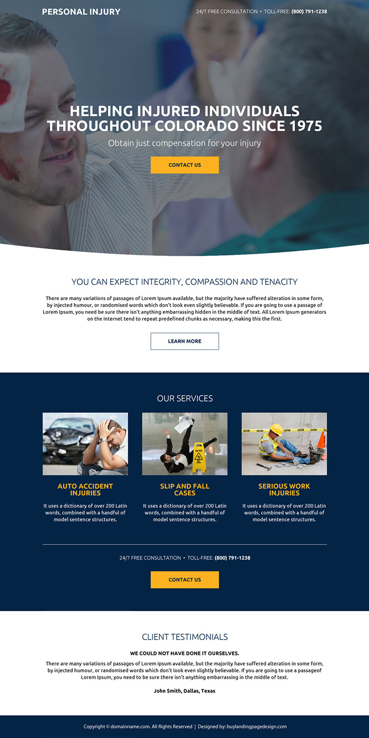 personal injury compensation responsive landing page design