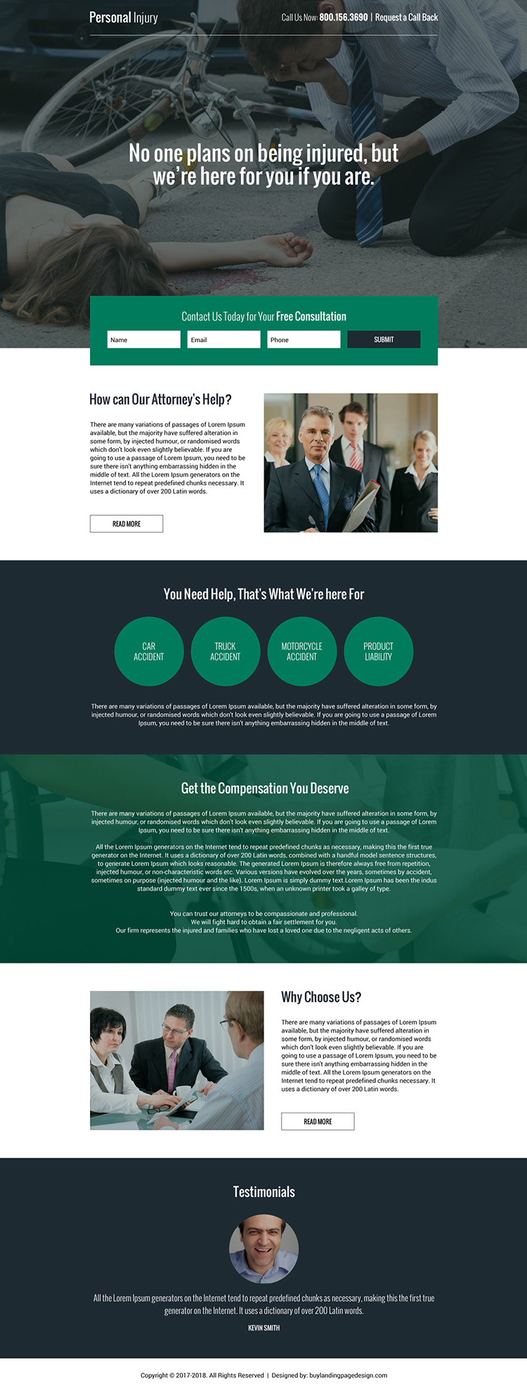personal injury free consultation lead capturing effective landing page