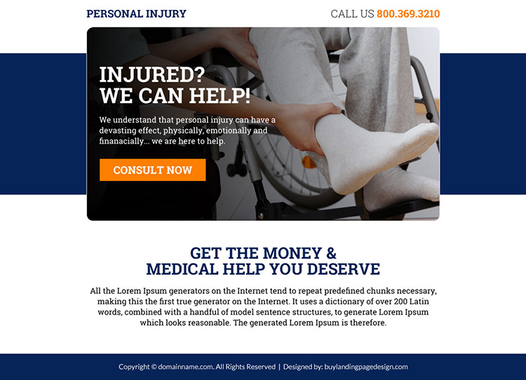 personal injury free consultation lead capturing ppv landing page