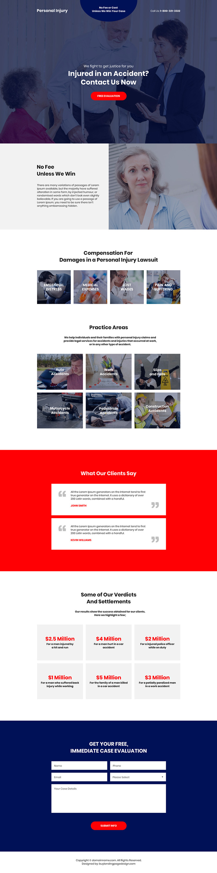 personal injury accidents free evaluation responsive landing page