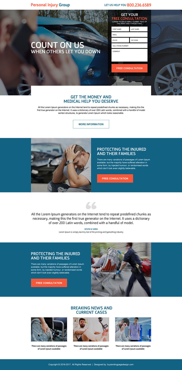 responsive personal injury help landing page design template