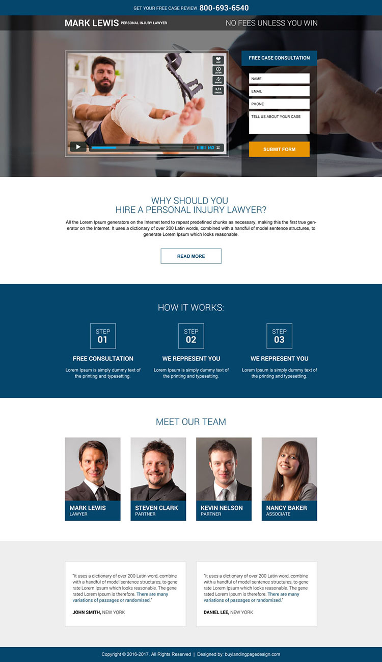 personal injury lawyer free case evaluation landing page