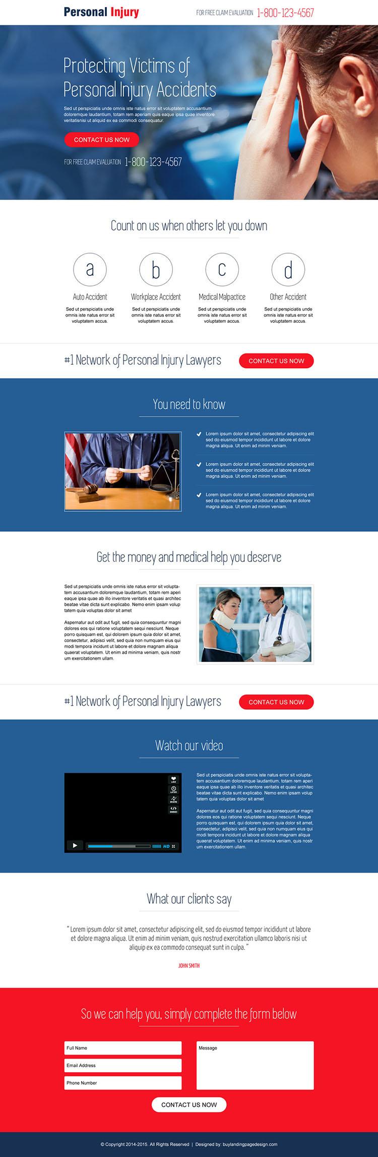 personal injury landing page design template