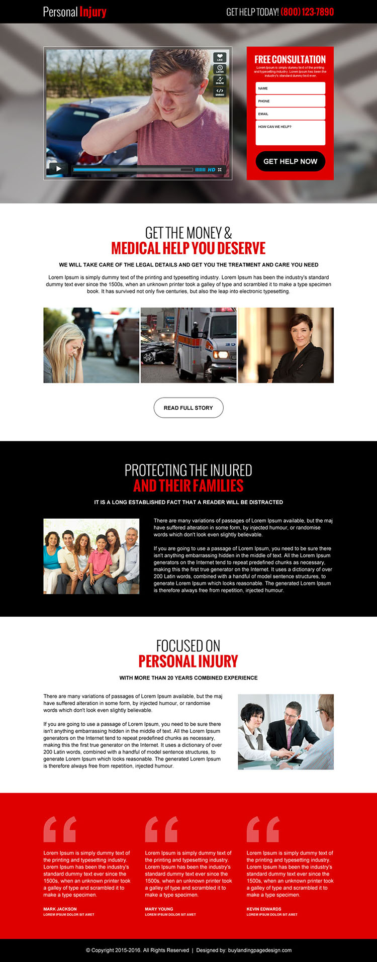 personal injury lead gen video responsive landing page design