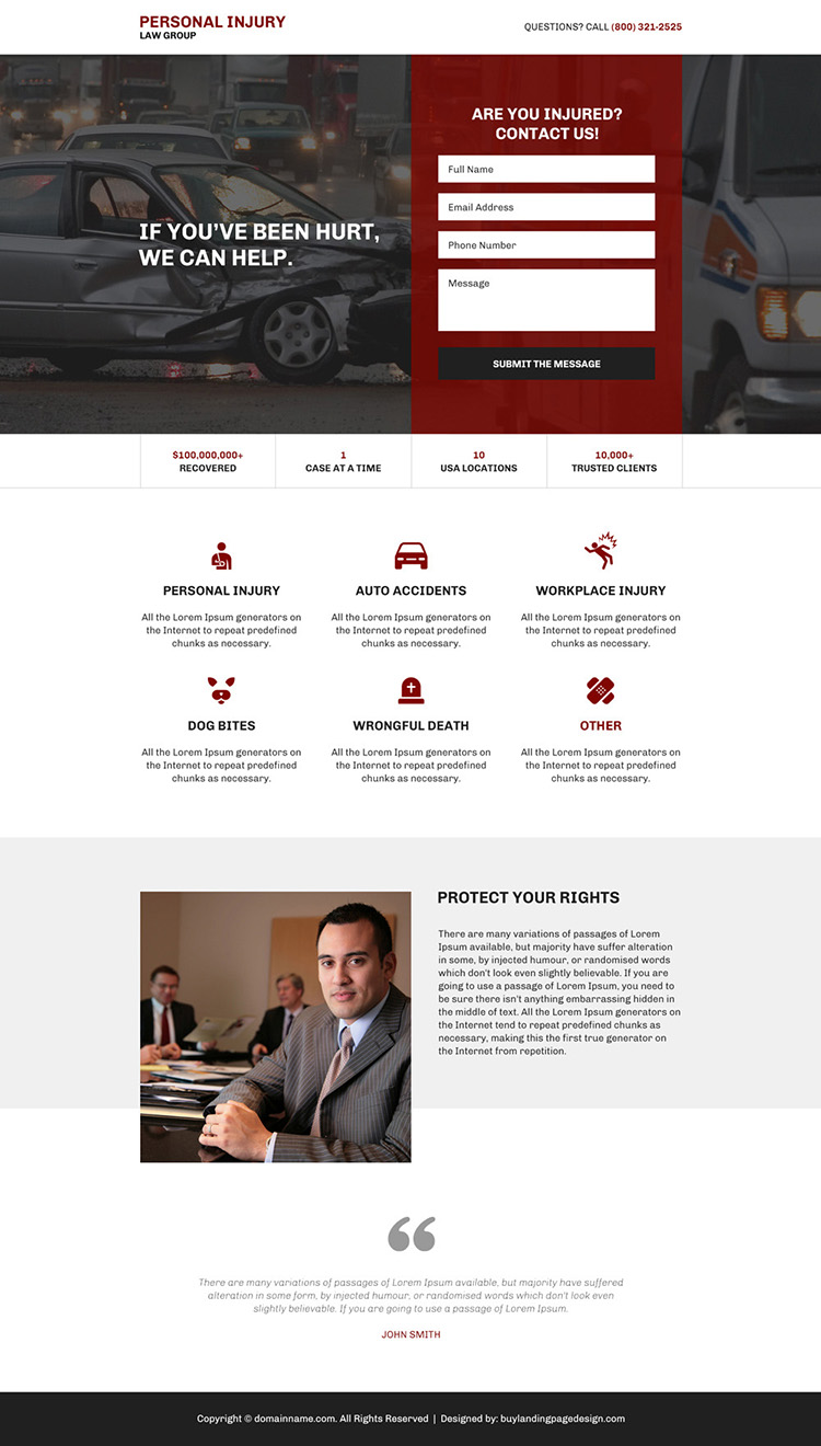 personal injury protection responsive landing page design