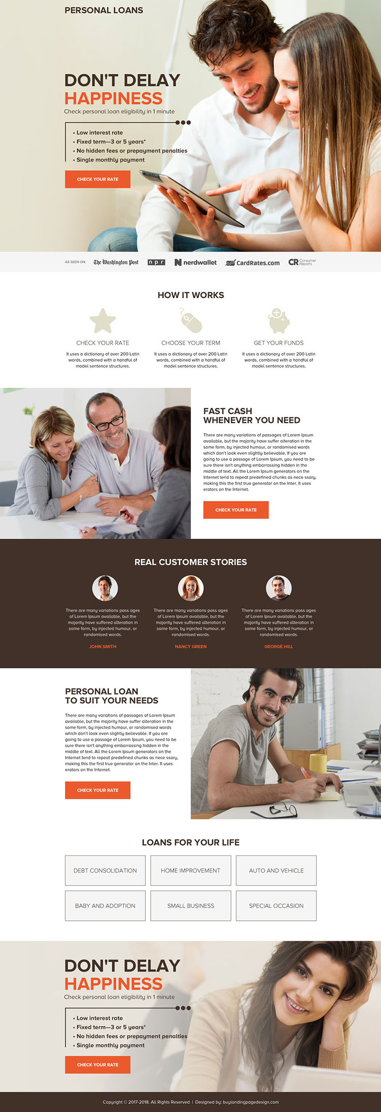 personal loan call to action long landing page