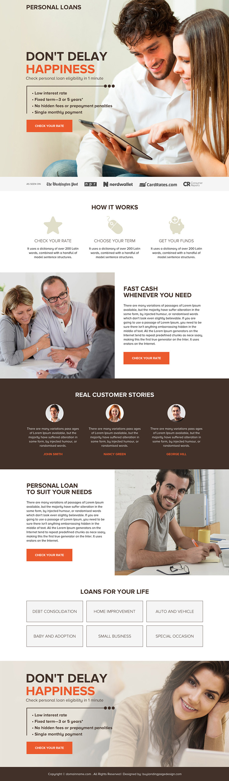 professional personal loan rates responsive landing page design
