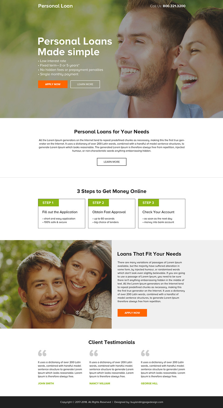 clean and minimal personal loan call to action landing page