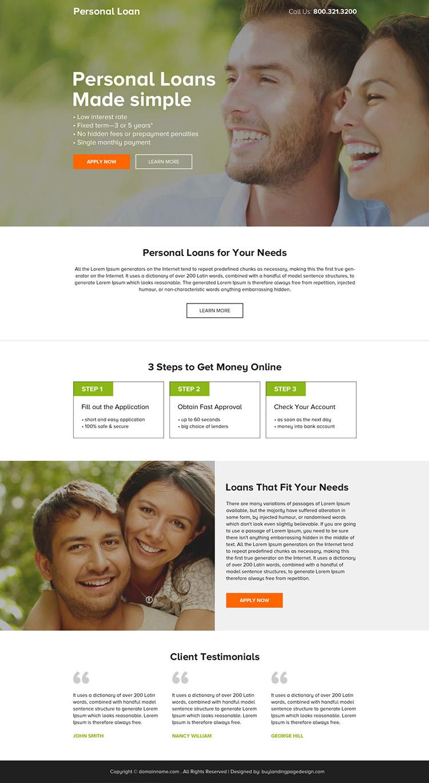 minimal personal loan responsive landing page design