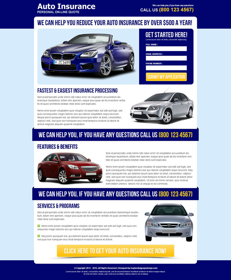 reduce your auto insurance attractive and effective squeeze page design