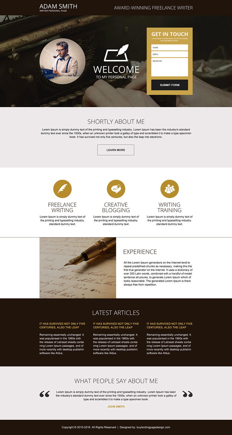 personal page lead capturing landing page design
