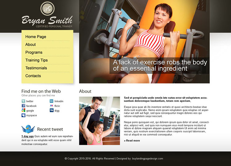 personal page website template design psd for sale