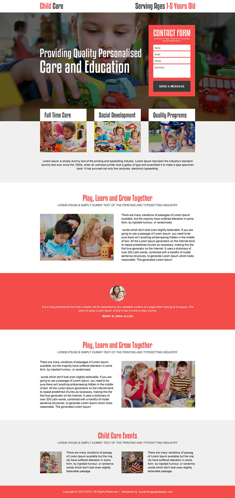 personalized child care responsive landing page design