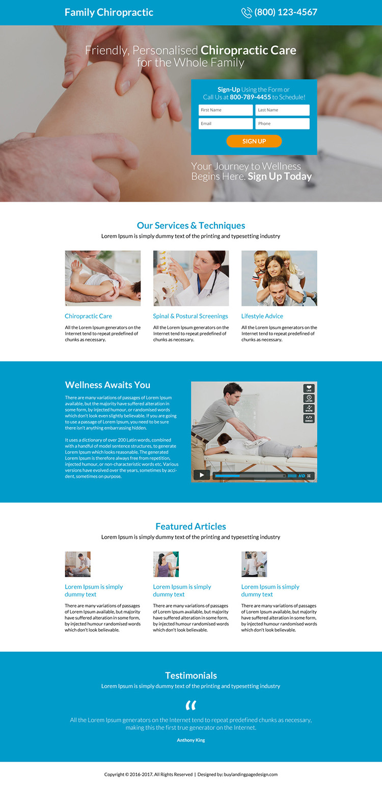 personalized chiropractic care sign up capturing responsive landing page design