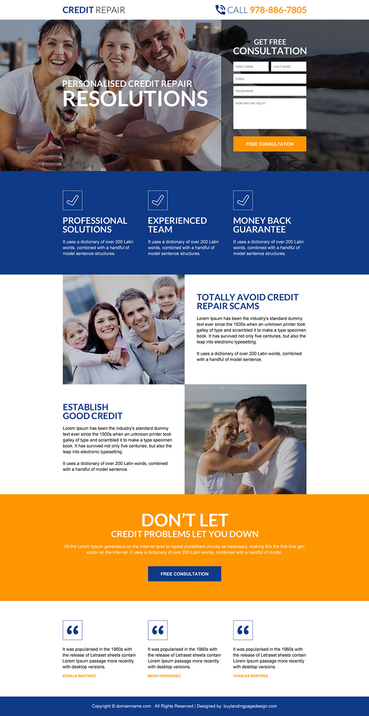credit repair resolutions responsive landing page design