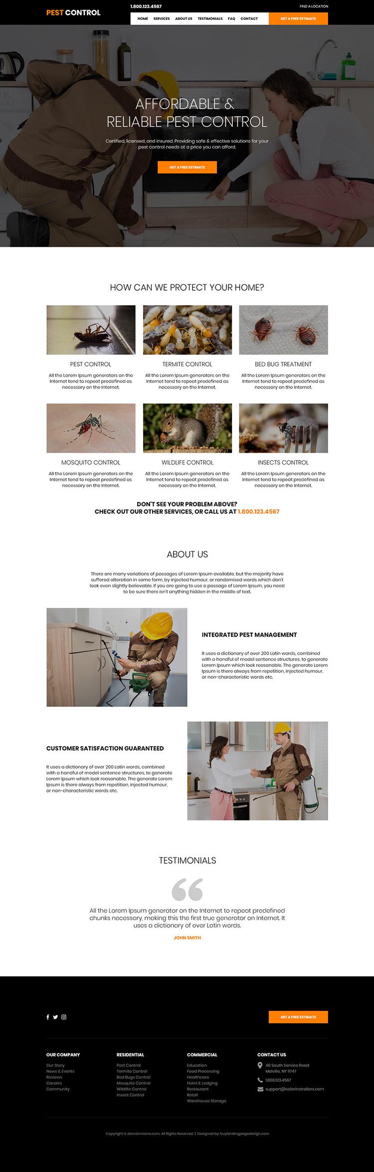 affordable pest control service responsive website design