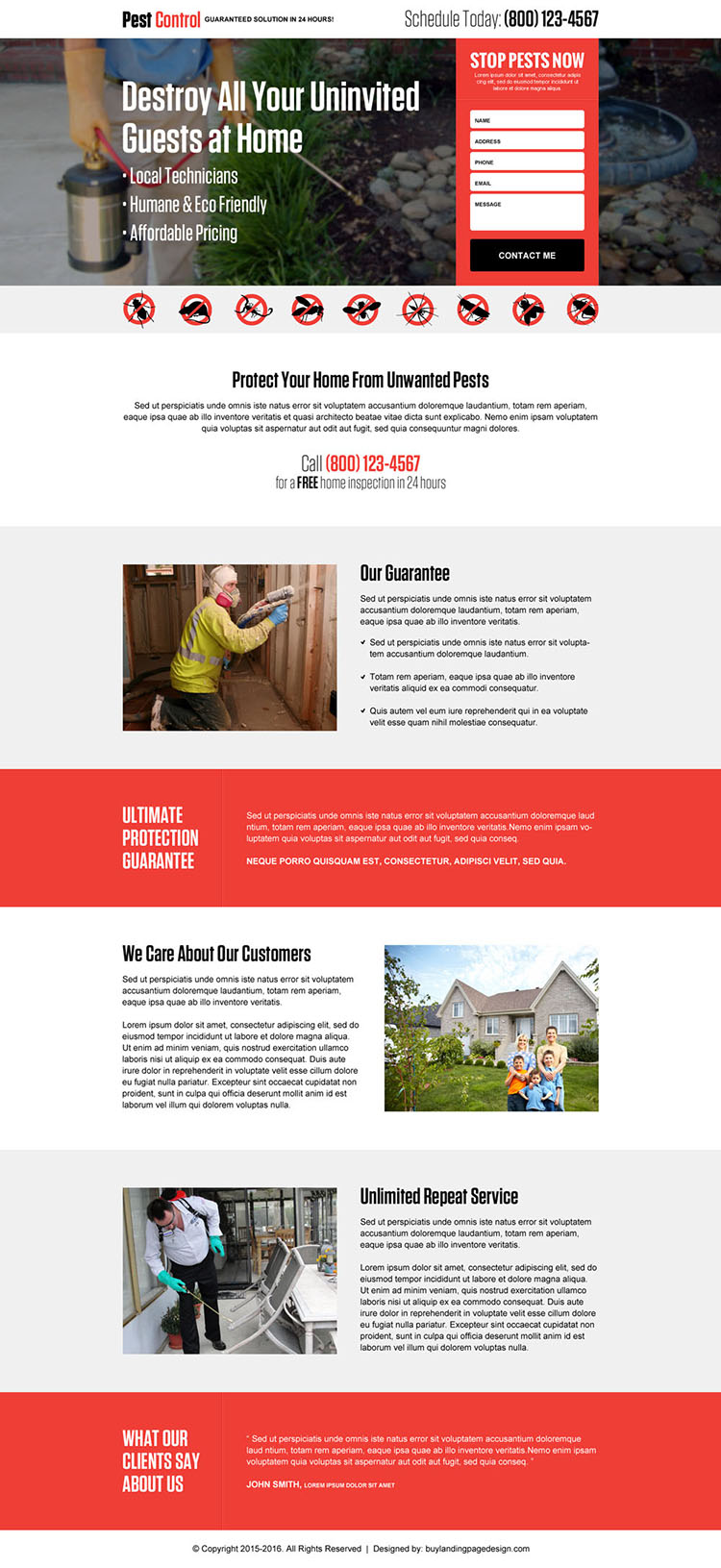 guaranteed pest control contact lead capture landing page design template