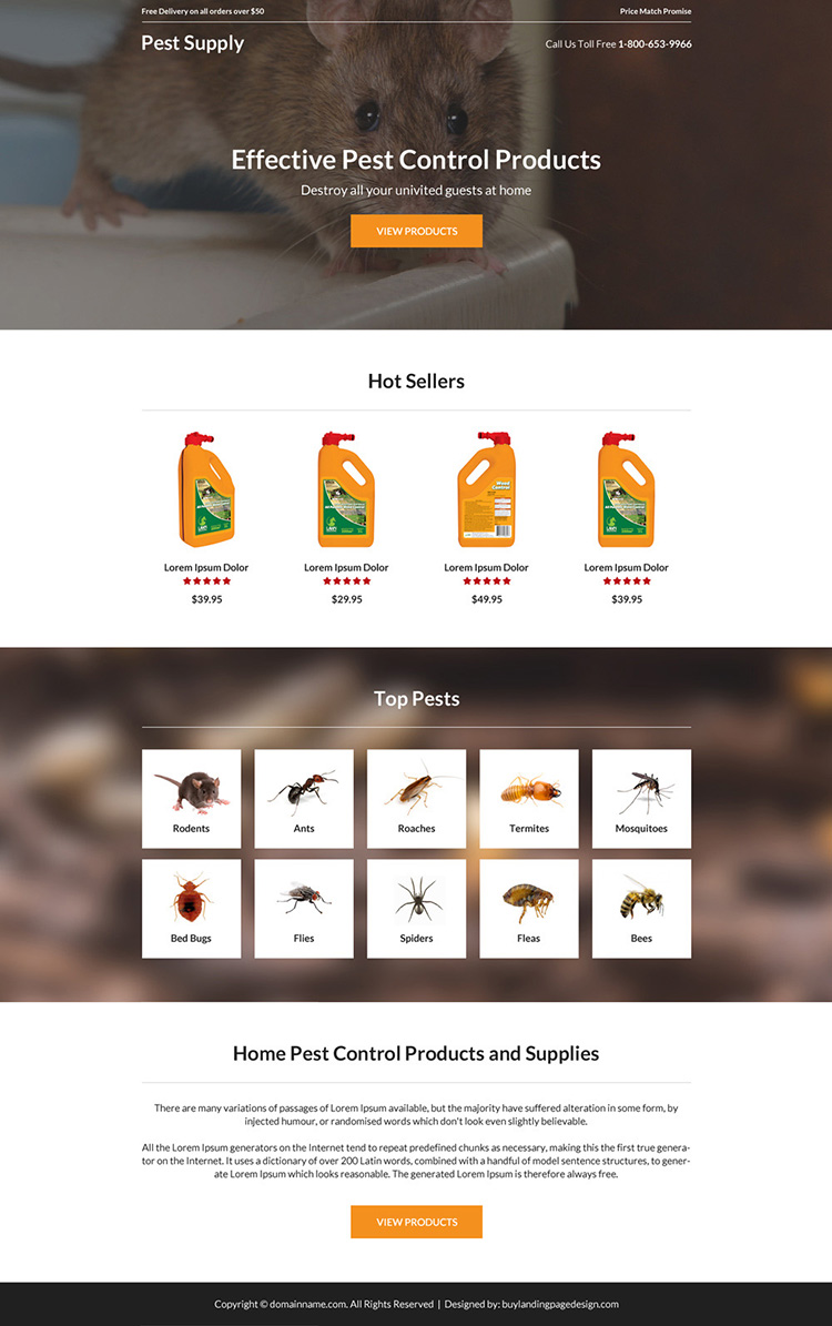 pest control product selling landing page design