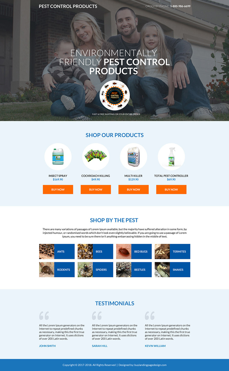 pest control product selling mini landing page design