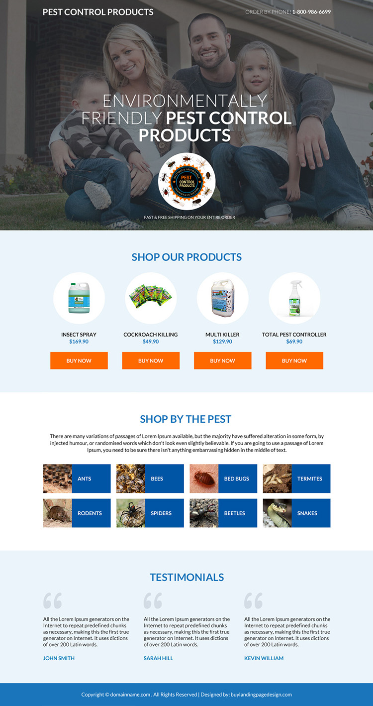 pest control product selling mini responsive landing page
